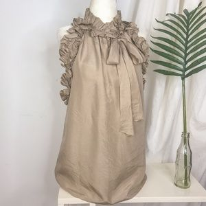 Robert Rodriguez Taupe Silk Ruffle Front Blouse